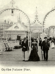 Old postcard of Palace Pier Brighton