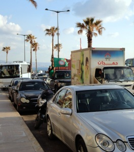 Traffic and flag wavers, Beirut