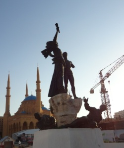 Martyrs Square, mosque and Crane