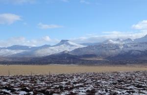Snow-capped volcano
