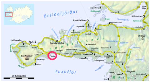 Snæfellsnes peninsula map
