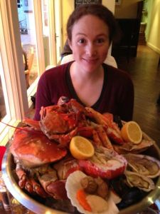 Zzella attacks the seafood platter
