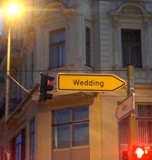 Wedding this way (sign spotted in Berlin in 2012)