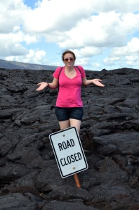 Road closed by lava