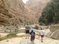 Wadi narrows and concrete steps ahead