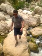 Crossing the stream (note: walker on way back)