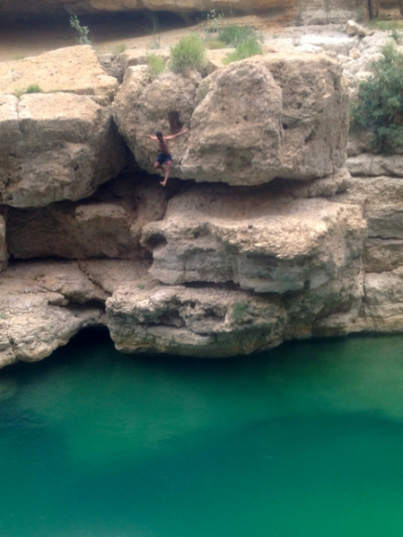 Local jumps from a cliff above a deep pool