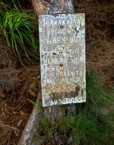 The Hanakapi'ai death tally sign. Widely regarded as an unofficial count,  the true tally is just as appalling.